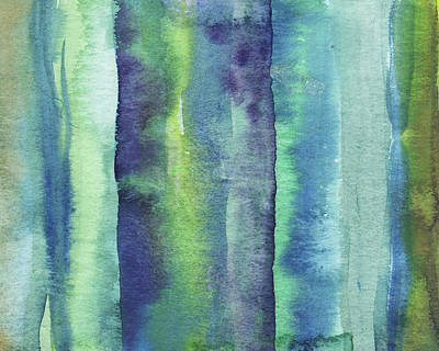 Royalty-Free and Rights-Managed Images - Feeling Ocean And Sea Beach Coastal Art Organic Watercolor Abstract Lines XI by Irina Sztukowski