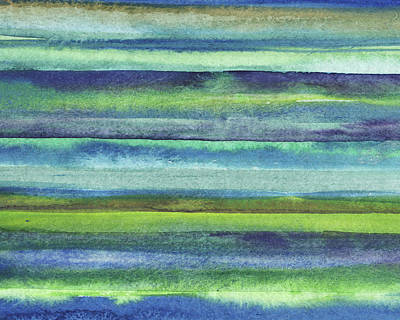 Royalty-Free and Rights-Managed Images - Feeling Ocean And Sea Beach Coastal Art Organic Watercolor Abstract Lines XII by Irina Sztukowski