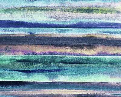 Royalty-Free and Rights-Managed Images - Feeling Ocean And Sea Beach Coastal Art Organic Watercolor Abstract Lines XIII by Irina Sztukowski