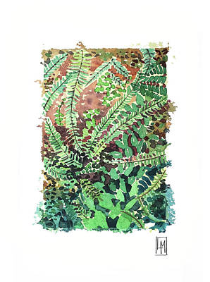 Wild Horse Paintings - Ferns by Luisa Millicent