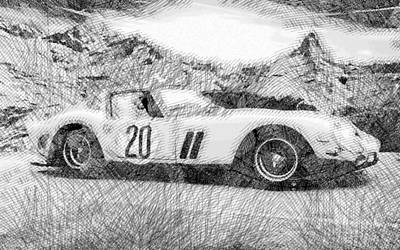 Winter Animals - Ferrari 250 GTO Modern Cars - Etching Poster by Celestial Images