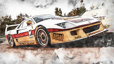 Owls - Ferrari F40 - 15 by AM FineArtPrints