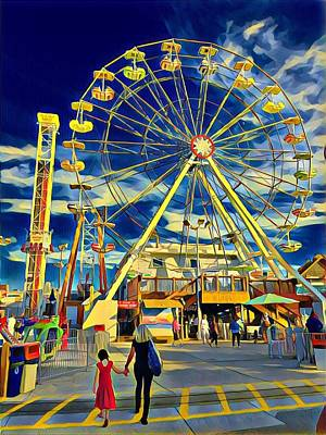 Surrealism Royalty-Free and Rights-Managed Images - Ferris Wheel at Playland Castaway Cove by Surreal Jersey Shore