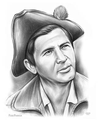 Drawings Royalty Free Images - Fess Parker Patriot Royalty-Free Image by Greg Joens