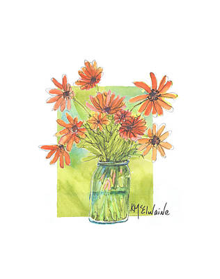 Farmhouse Royalty Free Images - Festive Flowers FA063 Watercolor Painting by Kathleen McElwaine Royalty-Free Image by Kathleen McElwaine