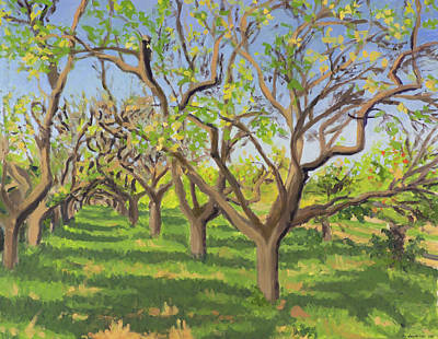 Painting - Field with apple trees in autumn  by Constanza Weiss