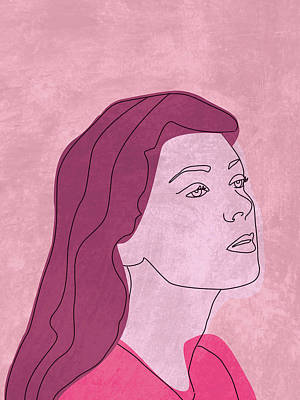 Royalty-Free and Rights-Managed Images - Fierce and Fearless - Contemporary, Minimal Portrait 2 - Pink by Studio Grafiikka