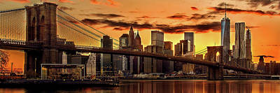 Skylines Royalty-Free and Rights-Managed Images - Fiery Sunset Over Manhattan  by Az Jackson