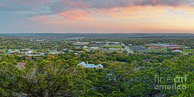 Movies Star Paintings - Fiery Sunset over Wimberley and Blanco River Valley - Hays County Texas Hill Country by Silvio Ligutti