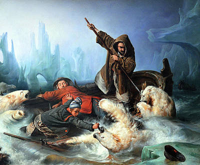 Painting Royalty Free Images - Fight with Polar Bears Royalty-Free Image by Francois Auguste Biard