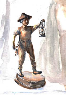 Mellow Yellow - Figurine of boy with lantern by Asha Sudhaker Shenoy