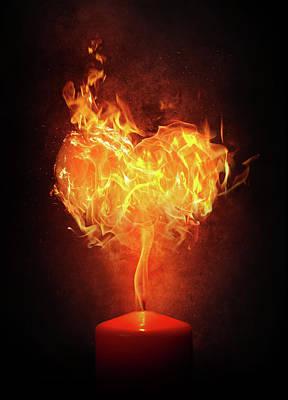 Surrealism Digital Art - Fire heart by Mihaela Pater