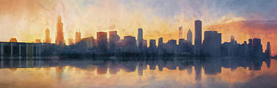 Target Threshold Watercolor - Fire in the Sky Chicago at Sunset by Scott Norris