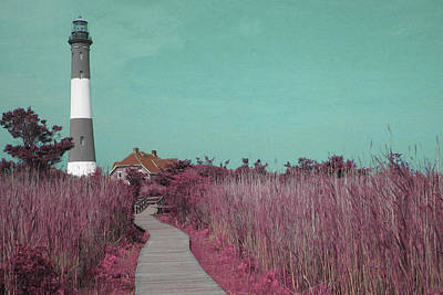Surrealism Royalty Free Images - Fire Island Lighthouse at Robert Moses State Park - Surreal Art by Ahmet Asar Royalty-Free Image by Celestial Images