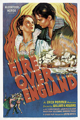 Royalty-Free and Rights-Managed Images - Fire Over England, with Laurence Olivier and Vivien Leigh, 1937 by Stars on Art