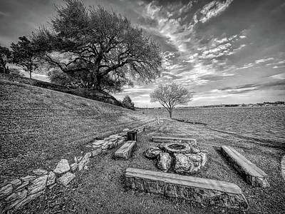 Catch Of The Day - Firepit View on Lake Granbury Black and White by Judy Vincent