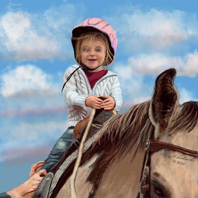 Animals Digital Art - First Horse Ride Delight by Gary F Richards
