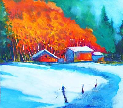 Mixed Media - First Snow by Betty Turner