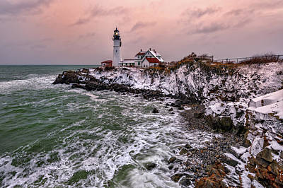 Royalty-Free and Rights-Managed Images - First Snow at Portland Head by Rick Berk