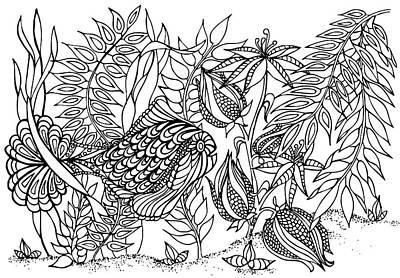 Animals Drawings - Fish 1 by Jennifer Wheatley Wolf