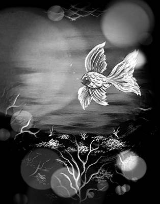 Animals Royalty-Free and Rights-Managed Images - Fish of beauty grayscale stardust  by Angela Whitehouse