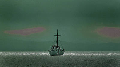 Surrealism Royalty-Free and Rights-Managed Images - Fishing Boat Returning - Surreal Art by Ahmet Asar by Celestial Images