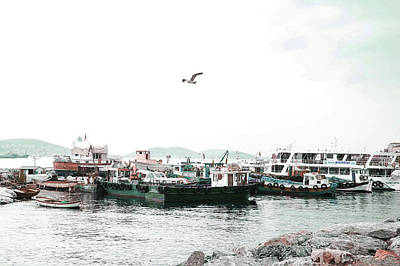 Surrealism Royalty Free Images - Fishing Boats - Surreal Art by Ahmet Asar Royalty-Free Image by Celestial Images