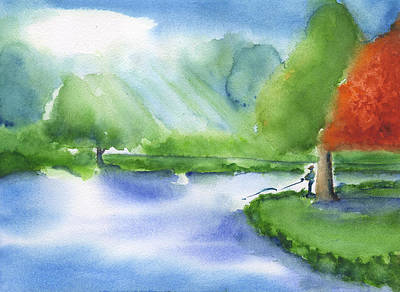 Painting - Fishing in the Morning - Lake Mayer by Frank Bright