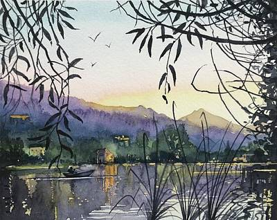 Target Threshold Watercolor - Fishing on Malibou Lake by Luisa Millicent