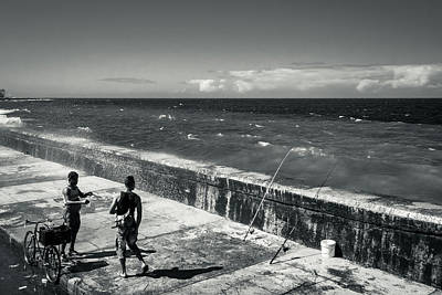 Stellar Interstellar Royalty Free Images - Fishing on the Malecon - monochrome Royalty-Free Image by Millward Shoults