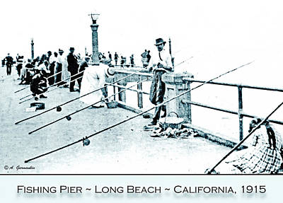 Celebrity Pop Art Potraits - Fishing Pier, Long Beach, California, c. 1915 by A Macarthur Gurmankin