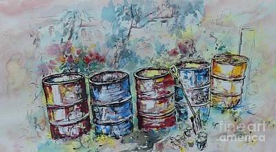 Painting - Five Rustic Drums by Ryn Shell