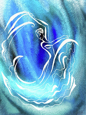 Royalty-Free and Rights-Managed Images - Flamenco Vortex In Teal Blue Turquoise Watercolor  by Irina Sztukowski