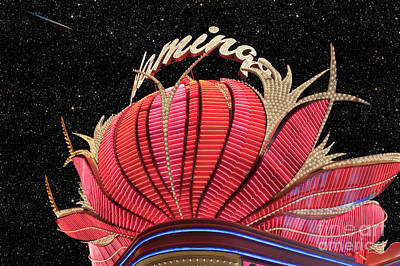 Beaches And Waves Rights Managed Images - Flamingo Hotel and Casino Neon Lights Royalty-Free Image by David Zanzinger