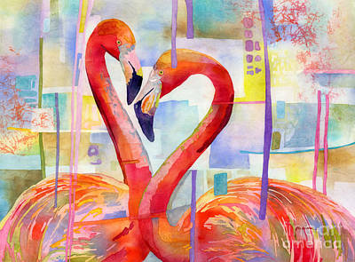 Target Threshold Watercolor - Flamingo Love by Hailey E Herrera
