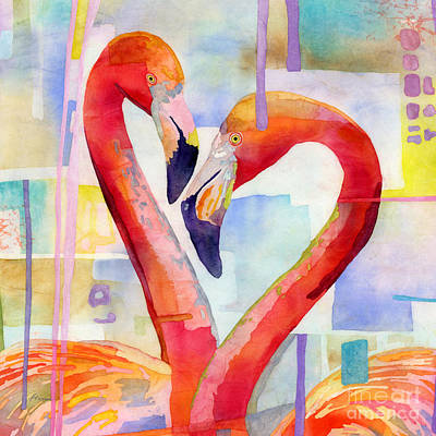 Roaring Red - Flamingo Love-square format by Hailey E Herrera