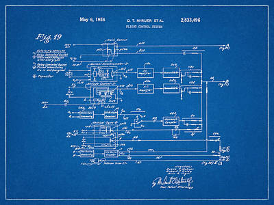 Drawings Royalty Free Images - Flight Control System Blueprint Royalty-Free Image by Dan Sproul