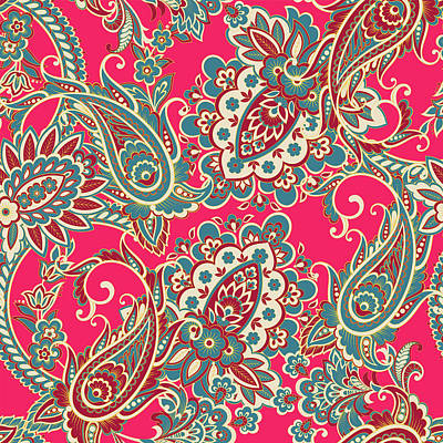Royalty-Free and Rights-Managed Images - Floral fabric with paisley ornament seamless pattern by Julien