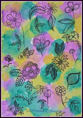 Drawings Royalty Free Images - Floral Spread Royalty-Free Image by Sonali Gangane