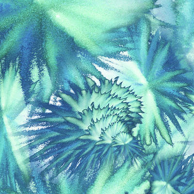 Royalty-Free and Rights-Managed Images - Floral Vortex Of Teal Turquoise And Blue Abstract Watercolor by Irina Sztukowski