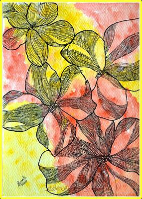 Firefighter Patents - Floral Zentangle drawing by Sonali Gangane