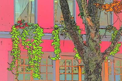 Jerry Sodorff Royalty-Free and Rights-Managed Images - Flower Box and Tree Color Sketch by Jerry Sodorff