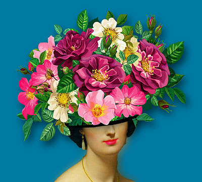 Surrealism Royalty Free Images - Flower Woman Surreal Tee Tees T-Shirt Royalty-Free Image by Tony Rubino