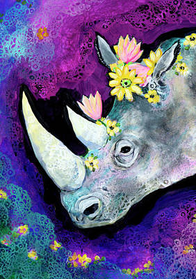 Animals Paintings - Flowers for Rhino by Jennifer Lommers