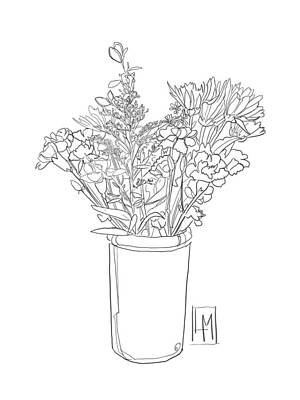Black And White Ink Illustrations - Flowers In A Tall Jug  by Luisa Millicent