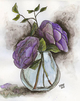 Sara Habecker Folk Print - Flowers in a Vase With Watercolor by Taphath Foose