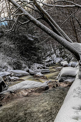 Kim Fearheiley Photography Royalty Free Images - Flowing stream in winter through snow covered woods 1 Royalty-Free Image by Dan Friend