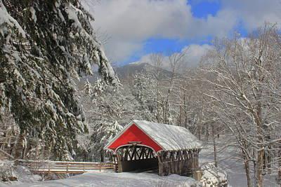 Aloha For Days - Flume Covered Bridge in Winter by John Burk