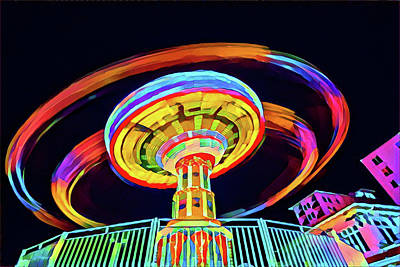 Surrealism Digital Art - Flying Chair Ride at Night by Surreal Jersey Shore
