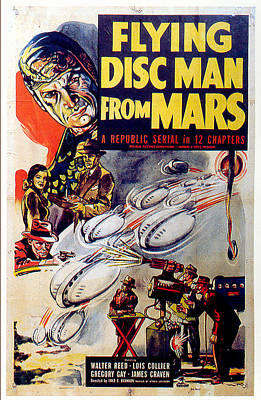 Science Fiction Royalty-Free and Rights-Managed Images - Flying Disc Man From Mars poster 1950 by Stars on Art